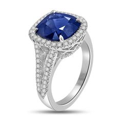 6.05 Ct Sapphire & Diamond Halo Cocktail Ring 18k White Gold | GlobalFeri.com Fine and Fashion Jewelry