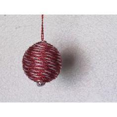 Handcrafted ornament is created with a base wrapped with red and white rope ribbon mixed with a solid red rope ribbon with a silver cap on the bottom. Red Rope, White Rope, Fabric Ornaments, Ball Ornaments, Handcrafted Christmas Ornaments, Glass Ball, Red And White, Gemstones