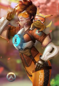 Overwatch: Tracer by JazzSiyArt on Deviantart   Tracer and Pikachu!