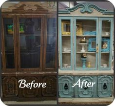Hutch redone with homemade chalk paint.  A beautiful Aqua color.