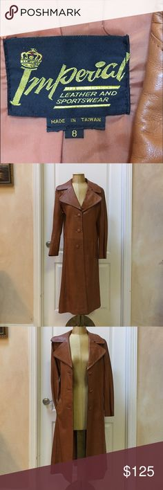 "Luscious Carmel Leather Vintage Leather Trench This jacket has all of the ""hip"" factors of retro chic and hipster style. Flawless and in perfect vintage condition. Authentic Original Vintage Style Jackets & Coats Trench Coats"
