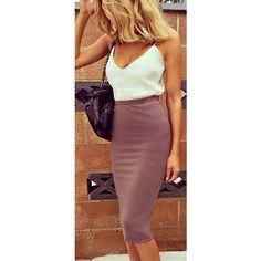 Basic Instinct Midi Skirt Mocha ❤ liked on Polyvore featuring skirts, long rayon skirt, midi maxi skirt, rayon skirt, red maxi skirt and long midi skirt