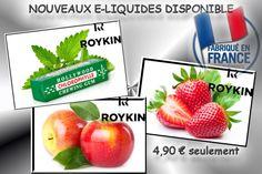 Arrivage de notre nouveau fournisseur ROYKIN en e-liquide.  Made in France   Pour le moment 3 saveurs aux choix disponible en 0mg, 6mg, 11mg et 16mg:  -bubble menthe  -pomme  -fraise   Venez VITE découvrir ces nouvelles saveurs exceptionnels toujours au meilleur prix!   Sur www.fume-a-blanc.com