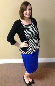Black, White, & Cobalt. Peplum and Pencil Skirt. Maternity Fashion