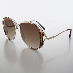 70999074cd4 Oversized Round Boho Sunglass with Drop Down Gold Temples - Beverly