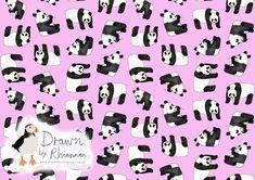 Drawn by Rhiannon panda print design pink background Panda Drawing, Photoshop Me, White Pencil, Print Design, Sketches, Black And White, Drawings, Pink, Inspiration
