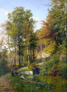 Fritz Ebel (1835-1895)  Children at the forest pond, 1885  Olio su tela, 96 x 70 cm