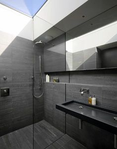 Top 60 Best Black Bathroom Ideas - Dark Interior Designs From traditional to modern, discover the top 60 best black bathroom ideas. Explore dark themed interior designs for your home. Dark Bathrooms, Beautiful Bathrooms, Small Bathroom, Bathroom Ideas, Bathroom Organization, Shower Bathroom, Bath Ideas, Tile Showers, New Bathroom Designs