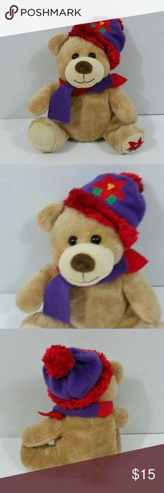 """Christmas Teddy Bear Boy 8"""" Christmas Teddy Bear Boy 8"""" Red Purple Hat Plush Stuffed Animal Toy  Box: CL Other"""