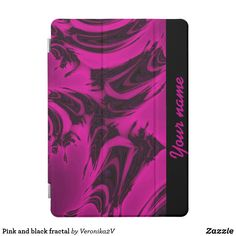 Ipad Pro Cover  Pink and black fractal pattern. Dark spots on a bright pink background. Abstract design. You can add your name, monogram or custom text. #customized #personalized #POD #graphics #artwork #buy #sale #giftideas #zazzle #discount #deals #gifts #shopping #mostpopular #trendy #cool #best #unique #stylish #gorgeous #pink, #black, #spots, #fractal, #magenta, bright, #purple, colorful, dark, #abstract #ipadprocover #ipadcover