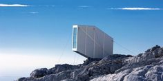 The Kanin Winter Cabin.  Designed by OFIS Arhitekti, the 104-square-foot cabin is located on Mount Kanin, along the Slovenian-Italian border.  Developed in partnership with engineering company CBD.  104 sq ft, can hold 9 people