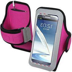 "myLife Fuchsia Pink + Carbon Black {Rain Resistant Velcro Secure Running Armband} Dual-Fit Jogging Arm Strap Holder for Samsung Galaxy Note 2 ""All Ports Accessible"" myLife Brand Products http://www.amazon.com/dp/B00TGBVFJ4/ref=cm_sw_r_pi_dp_H40avb0BY3QH0"