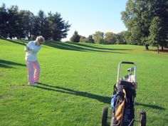 My mom, playing golf... (Yes, she is 91- and a REALLY good golfer!)
