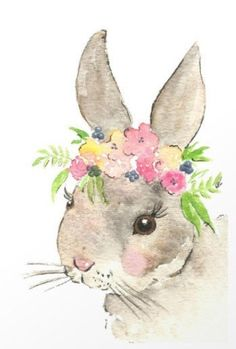 Trendy Flowers Crown Drawing Bunny With Ideas Bunny Painting, Bunny Drawing, Bunny Art, Nursery Prints, Nursery Art, Farm Nursery, Floral Nursery, Watercolor Flowers, Watercolor Paintings