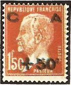 "1929 - Effigie di Louis Pasteur, batteriologo - Soprastampato ""Cassa d'Ammortamento"" - 1,50 Fr. + 50 c."