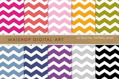 Digital Papers - Chevron ~~ This is a pack of 10 original high quality digital papers in jpg format. You can print them in any kind of paper and any kind of printer; inkjet or laser, at home, at work :) or in your favorite printer everytime you want. You can also print them on fabric