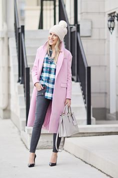 Anthropologie Hat, J.Crew Plaid Shirt, Urban Outfitters Pink Coat, Paige Denim, Tory Burch Tote
