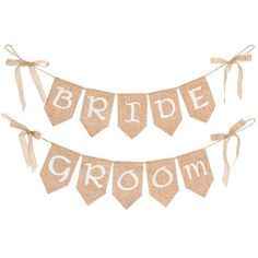 "BRIDE and GROOM Burlap Pennant Banners<br>2 Piece Set<br>26"" Long"