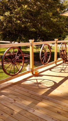 My wagon wheel railing I added to my new deck
