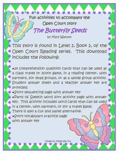 Fun Activities to accompany the Open Court Story The Butterfly Seeds $