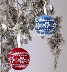 Knitted Christmas Ball Ornament Decoration, Personalized Knitting ... #knitted_balls Knitted Christmas Decorations, Knit Christmas Ornaments, Christmas Scents, Christmas Knitting Patterns, Christmas Toys, Knitting Patterns Free, Handmade Ornaments, Holidays, Christmas Baubles