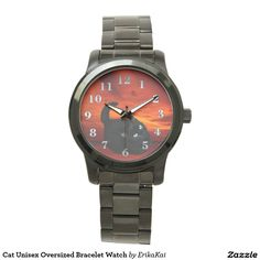 Black Cat and Red Sky Oversized Bracelet Watch. Color: black, gold, silver or two-ton
