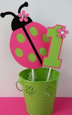 Ladybug Birthday Party Smash Cake Topper - Pink and Green. $8.00, via Etsy.