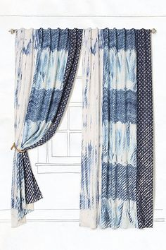 Anthropologie Spliced Shibori Curtain