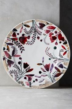 gorgeous painterly fall floral and leaf print dishes