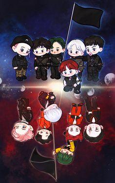 This picture so cute😢 Kaisoo, Chanbaek, Chibi, Chanyeol, Exo Cartoon, K Pop, Exo Anime, Exo 12, Exo Album