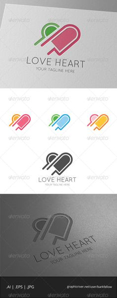 Love Pink Heart Logo Template - 4files: AI CS  EPS 10  EPS CS  JPG - CMYK  300ppi  print ready - Re-sizable - Editable te