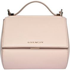 Givenchy Leather Pandora Box bag ($1,934) ❤ liked on Polyvore featuring bags, handbags, shoulder bags, borse, pink, genuine leather purse, leather shoulder handbags, chain shoulder bag, chain strap purse and real leather handbags
