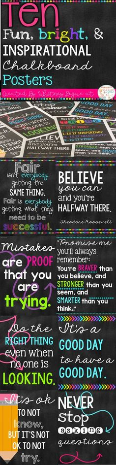 Looking for something inspirational to brighten up your classroom? These posters include ten of my favorite classroom quotes. Easy, inexpensive, and a fun way to decorate your classroom! Keywords: shiplap, farmhouse classroom, burlap, watercolor, teachers, chalk theme classroom, neons, bright color classroom, classroom inspiration, inspirational quotes, positive classroom, growth mindset