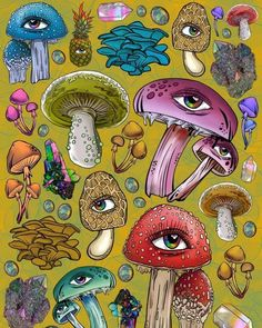 Today Denver celebrates yet another peaceful resolution to the drug war, the decriminalization of Psychedelic Mushrooms ❤️ congratulations… Mushroom Paint, Mushroom Drawing, Trippy Drawings, Art Drawings, Psychedelic Art, Art Hippie, Arte Peculiar, Arte Alien, Trippy Painting