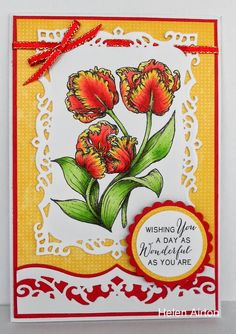 Power Poppy - The Blog: Ready to see the Power Peeps of the Week? Card by Helen Airton using Power Poppy's Tulips Digital Stamp!
