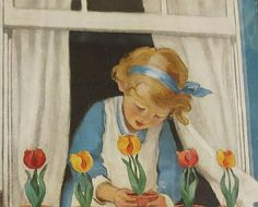 1940s print of a little girl planting pots of tulips on her windowsill. Isn't she darling?