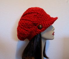 thick yarn how to make a slouchy hat crouche | Slouch Newboy Hat Crochet Slouchy Newsboy Cap Adult Red Fire Engine ...