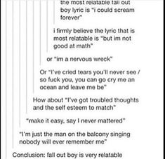 """The most relatable mcr Lyric is """"and though you are dead and gon, believe me, your memory will carry on"""""""