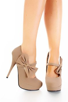 Shoes / Sand Smooth Velvet Mary Jane Bow Platform Heels Pump |2013 Fashion High Heels|