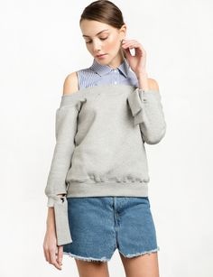 Grey Cold Shoulder Tie Sleeve Sweatshirt with Striped Collar Shirt   50% cotton, 45% polyester, 5% spandexMade by usModel is wearing a size xs and model's height is 5.9