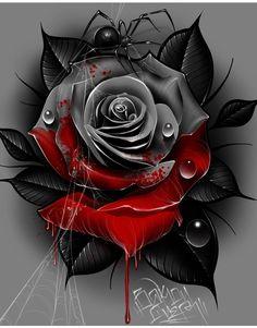 Tattoo L, Dark Tattoo, Color Tattoo, Evil Tattoos, Rose Tattoos, Flower Tattoos, Rose Reference, Catrina Tattoo, Trash Polka Tattoo