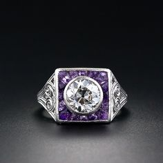 Art Deco Diamond and Calibre Amethyst  Ring