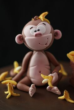 How sweet is this little monkey cake topper. He really is the cherry on top! Fondant Cake Toppers, Fondant Figures, Fondant Cakes, Cupcake Toppers, Crea Fimo, Safari Cakes, Jungle Cake, Wedding Cakes With Flowers, Flower Cakes