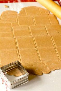 Homemade Graham Crackers- 1½ cups all-purpose flour 1⅓ cups graham flour 1 teaspoon baking soda ½ teaspoon kosher salt 1 cup unsalted butter, at room temperature 2/3 cup dark brown sugar 3 tablespoons honey