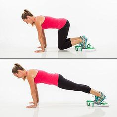 Sliding Plank: Reps: 15 On all fours, place folded towel under feet. Draw belly button into spine to engage abs and slightly lift knees off ground (dont let hips lift up in the air). Press out through heels, sliding legs out into a full plank position (avoid sagging or lifting hips—body should make a line from heels to head). Brace abs in tighter and slide legs back in to start position (knees still hovering). Thats one rep. Try up to 15 reps (or as many in a row as you can keeping great…