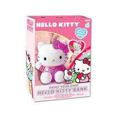 Girls love these pink Hello Kitty coin banks. You can paint it your own.