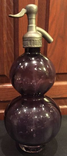 VTG Soda Seltzer Stamped G-68 Soda Reconquista Purple Handblown Glass Bottle