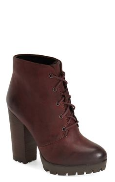 The lace-up style of these burgundy leather booties makes them so perfectly suited for autumn.