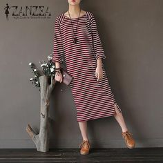 Good Price $13.03, Buy 2017 ZANZEA Autumn Vintage Striped O Neck Long Sleeve Midi Dress Women Casual Loose Kaftan Party Split Vestido Plus Size
