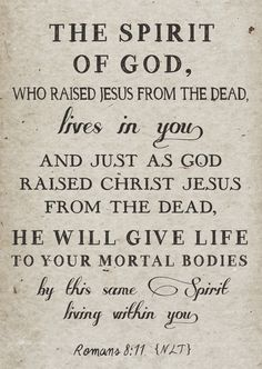 And if the Spirit of Him who raised Jesus from the dead lives in you, then He who raised Christ from the dead will also bring your mortal bodies to life through His Spirit who lives in you.  Romans 8:11